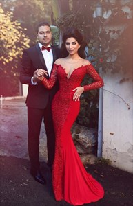 Red Sheer Lace AppliqueLong Sleeve Backless Mermaid Evening Dress
