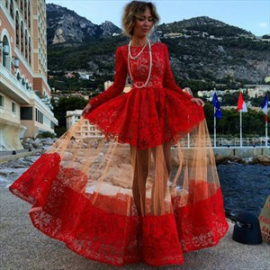 Red Long Sleeve Lace Party Evening Dress With Sheer Overlay