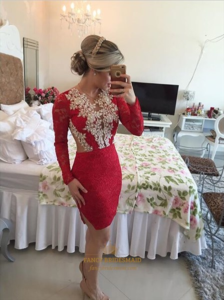 Red Beaded Bodice Sheer Back Short Lace Sheath Prom Dress