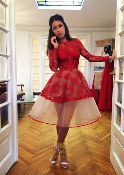 Red Illusion Long Sleeve Lace Short Prom Cocktail Dress