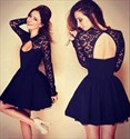 Black Lace Long Sleeve Backless Short Party Dress With Keyhole Front