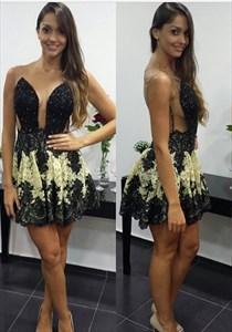 Black Beaded Embellished Backless Lace Applique Short Party Dress