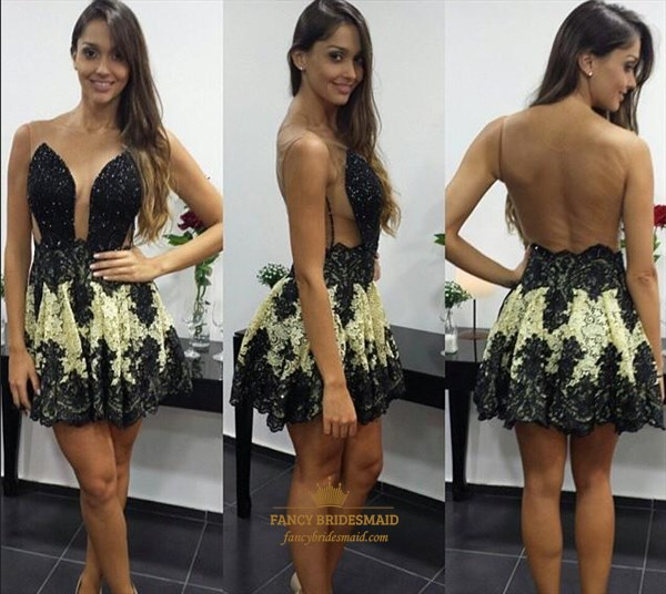 Black Beaded Embellished Backless Lace Applique Short Party Dress