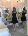 Black Lace Sheer Neck Sleeveless Cocktail Homecoming Dress With Bow