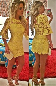 Yellow Lace Short Cocktail Dress With Half Sleeves