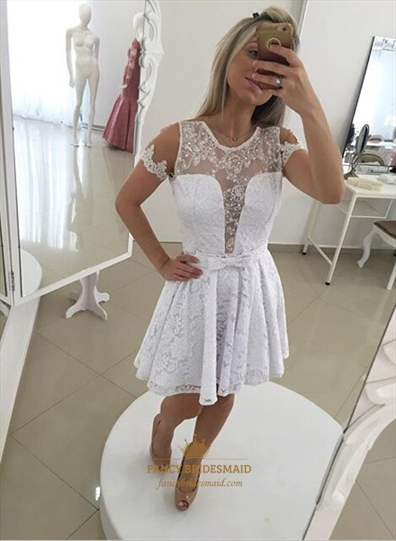 White Short Sleeve Sheer Beaded Open Back Lace Cocktail Dress