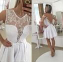 White Short Sleeve Sheer Beaded Open Back Lace Cocktail Dress