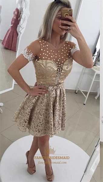 Champagne Short Sleeve Sheer Beaded Open Back Lace Cocktail Dress