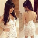 Ivory Sheer Open Back Lace Applique Short Sheath Evening Dress