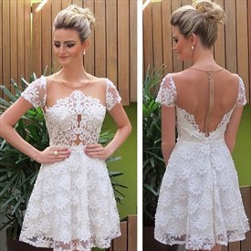 Ivory Short Sleeve Sheer Back Applique Homecoming Dress