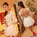 Ivory Long Sleeve Sheer Lace Applique Backless Short Prom Dress