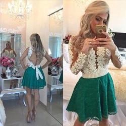 Two Tone Beaded Waist Sheer Long Sleeve Short Formal Dress
