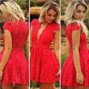 Red V Neck Cap Sleeve Knee Length Lace Short Homecoming Dress