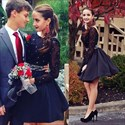Black Lace Beaded Top Long Sleeve Backless Short Homecoming Dress