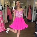 Hot Pink Lace Bodice Cap Sleeve Short Chiffon Bridesmaid Dress