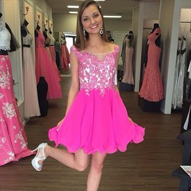 Hot Pink Lace Bodice Cap Sleeve Short Chiffon Bridesmaid Dress