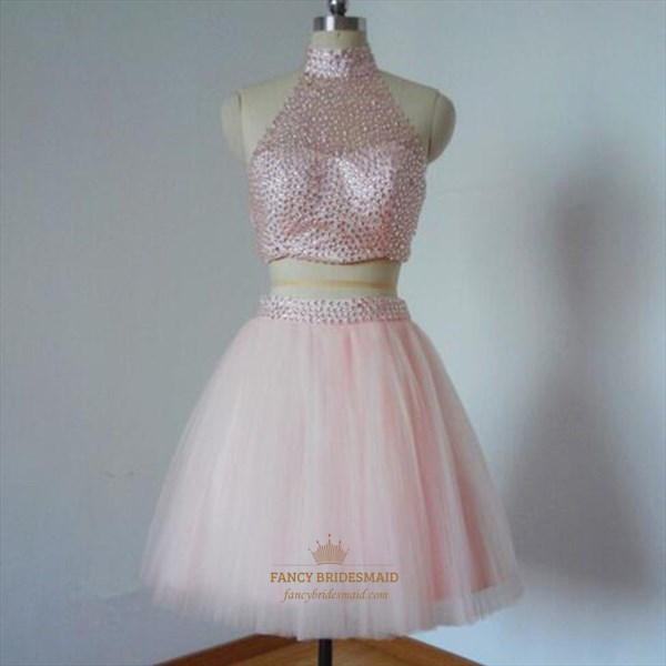 Blush Pink Two Piece High Neck Beaded Backless Short Homecoming Dress