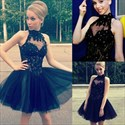 Black High Neck Lace Beaded Embellished Short Homecoming Dress