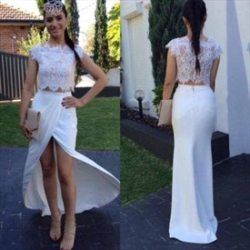 Two Piece Lace Top Chiffon Cap Sleeve Front Slit Long Prom Dress