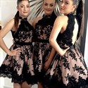 Black High Neck Illusion Lace Applique Open Back Party Short Dress