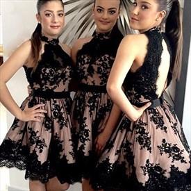Black High Neck Illusion Lace Applique Open Back Party Short Dress