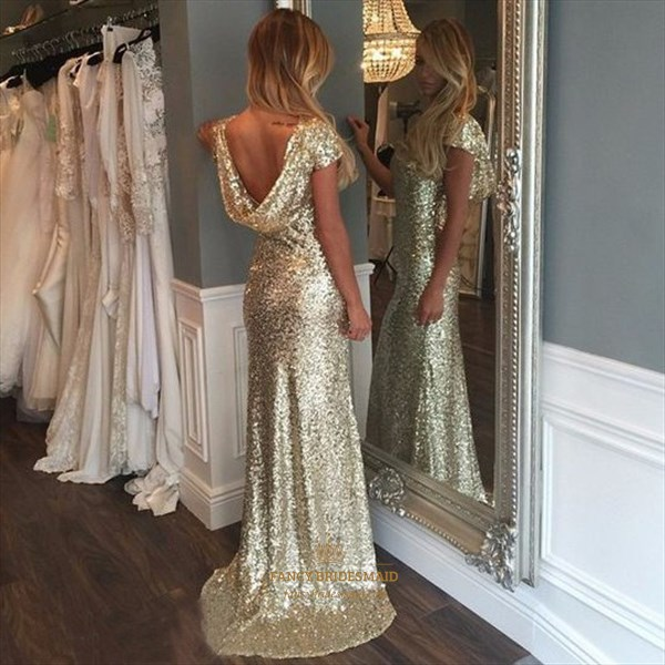 Champagne Cap Sleeve Cowl Back Sequin Long Bridesmaid Dress
