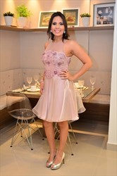 Blush Pink Beaded Embellished Illusion Neck Short Homecoming Dress