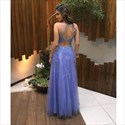 Lavender Illusion Neck Lace Beaded Embellished Long Formal Dress