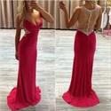 Red V Neck Sheer Beaded Back Floor Length Chiffon Formal Dress
