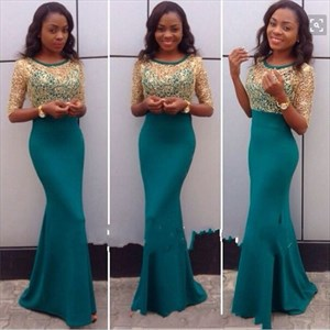 Turquoise Mesh Lace Bodice Long Sleeve Full Length Mermaid Prom Dress