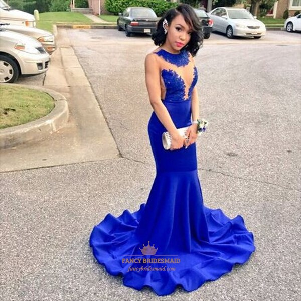 Royal Blue Sheer Lace Applique Front Backless Mermaid Long Prom Dress