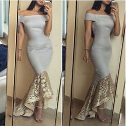 Grey Off The Shoulder Embellished Mermaid High Low Formal Dress