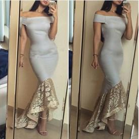Grey Off The Shoulder Embellished Mermaid High Low Formal Dress