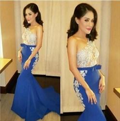 Royal Blue Lace Applique One Shoulder Long Mermaid Formal Dress