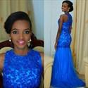 Royal Blue Beaded Lace Embellished Tulle Full Length Formal Dress