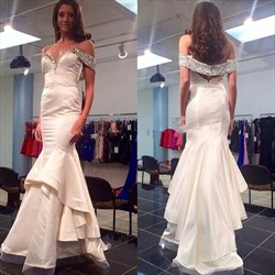 Silver Off The Shoulder Beaded Top Mermaid Floor Length Prom Dress