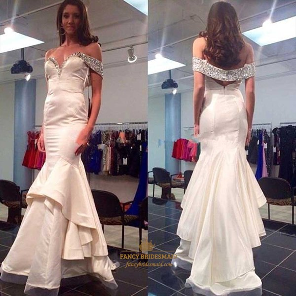 Silver Off The Shoulder Beaded Top Mermaid Floor Length Prom Dress