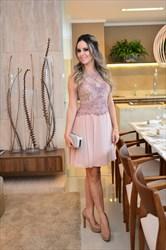 Peach Beaded Lace Bodice Short Chiffon Cocktail Bridesmaid Dress