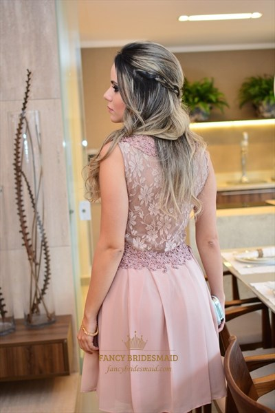 Peach Beaded Lace Bodice Short Chiffon Cocktail Bridesmaid Dress