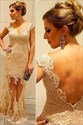 Ivory Cap Sleeve Lace Open Back Sheath Formal Dress With Sheer Overlay