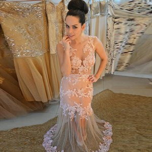 Peach Illusion Lace Applique Long Prom Dress With Sheer Overlay
