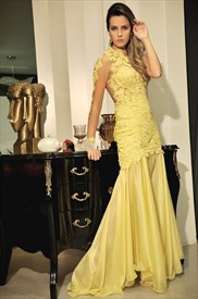 Yellow One Shoulder Long Sleeve Lace Applique Long Formal Dress