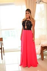 Hot Pink Embellished Sheer Lace Bodice Long Chiffon Prom Dress
