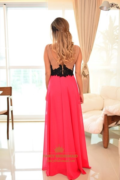 Hot Pink Embellished Sheer Lace Bodice Long Chiffon Prom Dress
