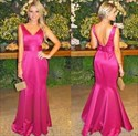 Hot Pink V Neck Sleeveless Backless Mermaid Long Formal Dress With Bow