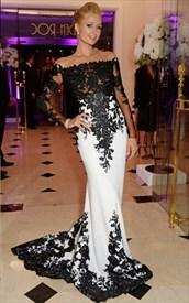 Ivory Sheer Lace Applique Long Sleeve Sheath Floor Length Formal Dress