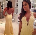 Light Yellow V Neck Lace Applique Embellished Gown With Open Back