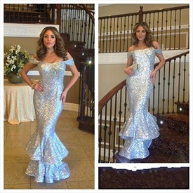Silver Off The Shoulder Sequin Mermaid Full Length Formal Dress