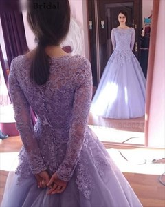 Lavender Lace Applique Top Long Sleeve Tulle Ball Gown Prom Dress