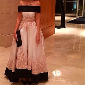 Ivory Off The Shoulder Lace Embellished Ball Gown Evening Dress
